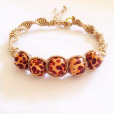 Handmade Leopard and Hemp Bracelet  by Cashmaams