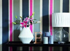 navy blue, gray and pink striped wallpaper