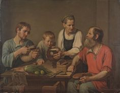 """For this painting and a sketch of """"checkers game"""" in 1824 F.Solntsev awarded a small gold medal and received a certificate of degree 1 for the title of the class artist. Family History Book, Russian Painting, Imperial Russia, Traditional Outfits, Oil On Canvas, The Past, Artist, Image, Collection"""