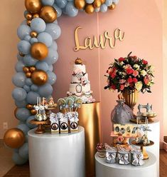 New Ideas For Baby Shower Desserts Bar Birthday Parties Decoration Buffet, Deco Buffet, Backdrop Decorations, Balloon Decorations, Birthday Party Decorations, Wedding Decorations, Birthday Dinners, Birthday Parties, Baby Shower Desserts