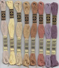 DMC six-stranded embroidery floss 3033, 3078, 3047, 3046, 3045, 3064, 3042, 3041 - gray, soft yellow, tan, desert sand and purple series