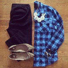 Buffalo Plaid Shirt, Beaded Rose Necklace, Pixie Pants, Leopard Flats | #workwear #officestyle #liketkit | http://www.liketk.it/JQRK | IG: @whitecoatwardrobe