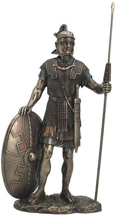 """Amazon.com: Custom & Unique {14"""" Inch} 1 Single Large, Home & Garden """"Standing"""" Figurine Decoration Made of Genuine Bronze w/ Antique Polished Historical Roman Warrior Style {Gold & Black Color}: Home & Kitchen"""