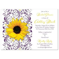 Purple and yellow floral sunflower bridal shower invitation.