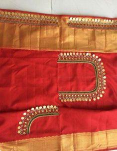 Kasu embellished blouse designs for silk saree - Kasu embellished blouse design. - Kasu embellished blouse designs for silk saree – Kasu embellished blouse designs for silk saree - Cutwork Blouse Designs, Wedding Saree Blouse Designs, Simple Blouse Designs, Dress Designs, Saree Wedding, Mirror Work Blouse Design, Maggam Work Designs, Designer Blouse Patterns, Lace Saree
