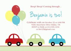 Car Theme Birthday Invitation By Paloma Paper Designs