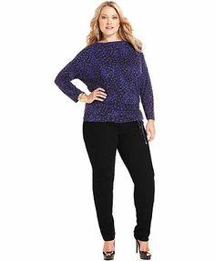 MICHAEL Michael Kors Plus Size Long-Sleeve Printed Top & Skinny Jeans
