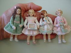 The Christmas Alphabet: C is for CHRISTMAS CANDY that tastes so yummy. See how small these scale toddlers are - all 4 fit across a hand! Victorian Dolls, Antique Dolls, Vintage Dolls, Dollhouse Dolls, Miniature Dolls, Dollhouse Miniatures, Felt Dolls, Doll Toys, Paper Dolls