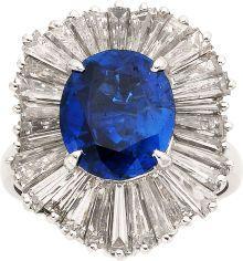 Sapphire, Diamond, Platinum Ring-Dant.