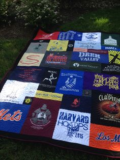 Mosaic style t-shirt quilt