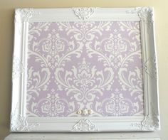 Framed Bulletin Board For Sale Shabby Chic Nursery Damask Lavender Lilac White Pastel Purple Vintage Baby Wall Decor 26inx30in