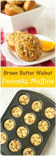 Recipe for Brown Butter Walnut Pancake Muffins - Fluffy pancakes with no flipping involved! Perfect for breakfast or brunch. Recipe from @itsyummi