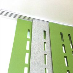 Ceiling mounted sliding hanging track with Facade panels…workplace design, acoustics, office design, modern office, acoustic hanging screen Garden; Design Thinking, Office Screens, House Columns, Acoustic Wall Panels, Sliding Room Dividers, Sliding Panels, Rectangular Pool, Italian Garden, Workplace Design