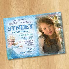 Printable Frozen Invitation - Frozen Birthday Invitation with Photo - Elsa Disney Frozen Party Invites Ideas Snowflake 4x6 or 5x7