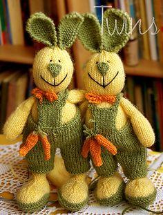 knitted bunny knitted rabbit http://twinsknit.blogspot.com/