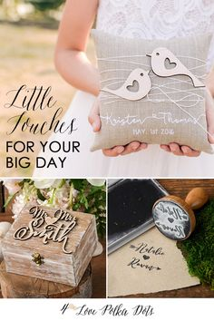 Little Touches for your BIG DAY ! Rustic wedding ideas - guest books, ring boxes, stamps, pillows & more ! Find your perfect design #weddingideas #weddings #wedding #rustic #weddingaccessories #country #wood #eco #handmade