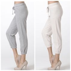 FRENCH TERRY CROP PANTS DO NOT buy this listing. Please comment size needed below and I will make you a separate listing or bundle  Available in Heather Grey or Heather Oatmeal.  S (2) of each M (2) of each L (2) of each No PayPal. No trades. Price firm unless bundled. Pants Ankle & Cropped