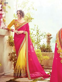 48725d52f47 Bewitching Pink And Yellow Half And Half Bemberg Georgette Lace Border  Stone Work Party Wear Sarees. buy online shopping sarees at -Bangalore.