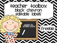 Teacher's Toolbox - Black Chevron {Editable} FREEBIE