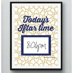 FREE download printable from modernEID. Daily Iftar time print, when framed can use a dry-erase marker to write onto frame glass each day during Ramadan up until Eid. Download this printable for free.