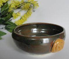 Casserole Bowl Green Mustard Yellow Serviing by RisingStarPottery1, $35.00