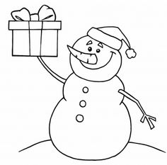 Happy Snowman Holding up a Christmas Present coloring page | Super Coloring
