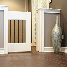 Pocket Door Pet Gate - This would be perfect for doorway between my kitchen and mudroom. It would make that area look so much better than a dog gate that's always visible and get's in the way. MUST DO THIS. Half Walls, Baby Gates, House Design, Half Doors, Open Kitchen And Living Room, Home, Room Design, Media Room Design, New Homes