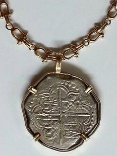 Atocha Silver Treasure Coins  Grade 1 14k Pendant