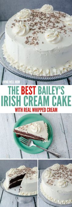 The BEST Bailey's Irish Cream Cake recipe - The mouthwatering chocolate cake and flavorful real whipped cream frosting are so light, you'll have a hard time saying no to a second piece of this delicious dessert! Irish Cake, Irish Cream Cake, Baileys Irish Cream, Baileys Recipes, Irish Recipes, Just Desserts, Delicious Desserts, Dessert Recipes, Best Cake Recipes