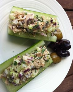 paleo tuna salad on cucumber boats
