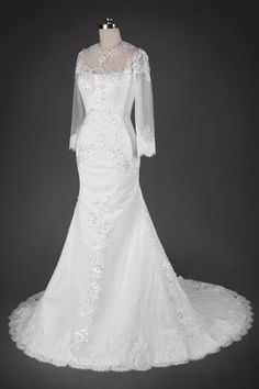 Pronovias style yanida # Noble Illusion Neckline Long Sleeve Wedding Dress with Lace Overlay and Buttons