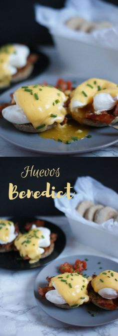 A brunch without eggs is not a real brunch. Here is an easy recipe to prepare the original Eggs Benedict. They are made with healthy English muffins as a base, bacon, poached egg and hollandaise sauce. They are so delicious that you want to share them soo Breakfast Desayunos, Breakfast Smoothies, Breakfast For Kids, Breakfast Ideas, Breakfast Sausage Recipes, Healthy Breakfast Recipes, Egg Recipes, Cooking Recipes, Salsa Recipe
