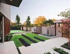 Modern front yard landscaping great contemporary garden decor in with concrete steps as way to ideas . Contemporary Garden Design, Modern Landscape Design, Contemporary Landscape, Modern Contemporary, Contemporary Building, Contemporary Cottage, Contemporary Apartment, Contemporary Wallpaper, Contemporary Bedroom