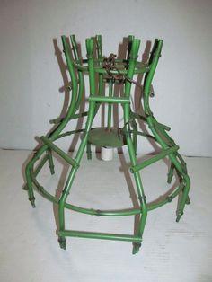 Vtg 1960's Faux Bamboo Green Tube Metal Chandelier Mid Century Modern Tiki Bar