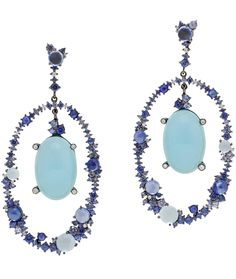 Breathtaking Aquamarine Diamond Blue Sapphire White Gold Dangle Earrings