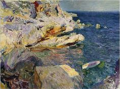 'rocks et blanc bateau, `javea`', huile sur toile de Joaquin Sorolla Y Bastida (1863-1923, Spain)
