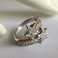 Two stars pave set CZ rhodium plated Sterling silver ring, size 6 Lot 111
