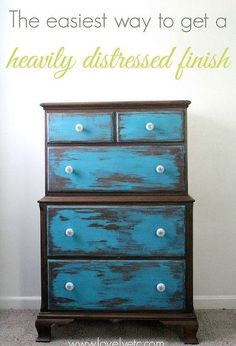 the easiest way to heavily distress furniture, painted furniture, repurposing upcycling