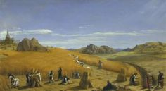 Ora et Labora (Pray and Work). This 1862 painting by John Rogers Herbert depicts monks at work in the fields with an abbey (the Trappist Mount St. Bernard Abbey) in the background.
