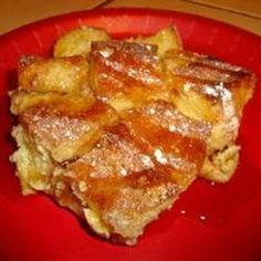French Toast Casserole  Instead of bread cubes I use cinnamon raisin or blueberry bagels cubed.  You can make this up the night before.  Just take out of fridge about an hour before baking and dot with butter. Top with the cinnamon sugar & bake as directed. Delicious and so much easier than going thru the hassle of making french toast.
