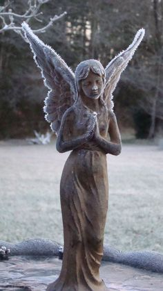 Cast Iron Angel with Frost