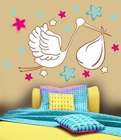 Star Bedroom, Kids Bedroom, Wall Stickers Murals, Wall Decal Sticker, Stork, Wall Colors, Nursery, Kids Rugs, Easy Wall