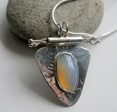 Asian inspired opal on hand forged sterling silver necklace handmade   Metal_Artistry - Jewelry on ArtFire