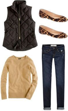 Great Fall outfit: camel tan sweater top, black quilted vest, leopard flats, dark denim