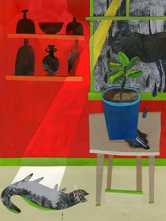 Collage still life using hand-painted papers