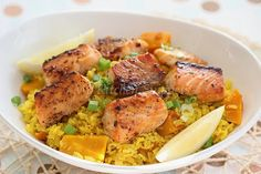 My Kitchen Snippets: Salmon with Turmeric Pumpkin Rice