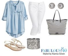 Style white jeans with chambray for a relaxed look.   Fabulous After 40