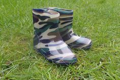 Boys Kids Fashion Army Camouflage Green and Brown Wellies Wellington Boots
