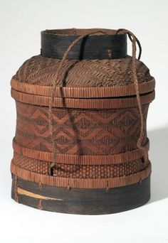 Africa | Basket with lid from Bachoko town, Belgian Congo | Plant fiber and cord | ca. 1910.