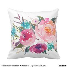 Floral Turquoise Pink Watercolor Bouquet Throw Pillow